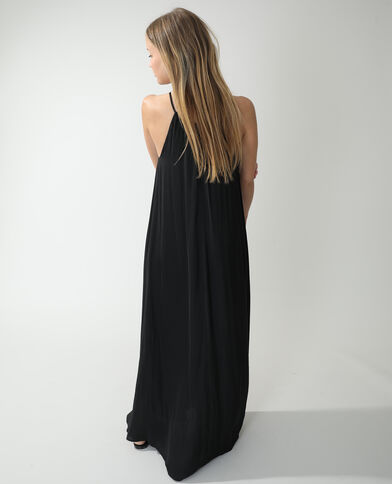 Lange satijnachtige jurk zwart - Pimkie