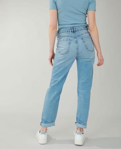 Straight-fit jeans met hoge taille en comics-versiering denimblauw - Pimkie