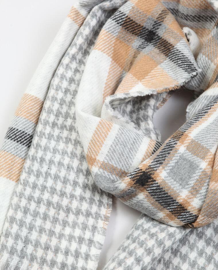 Dubbelzijdig bedrukte sjaal Beige