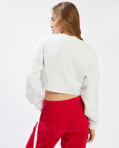 Korte sweater uit twee materialen wit - Pimkie