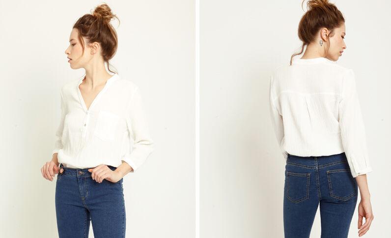 Chemise à manches 3/4 blanc cassé