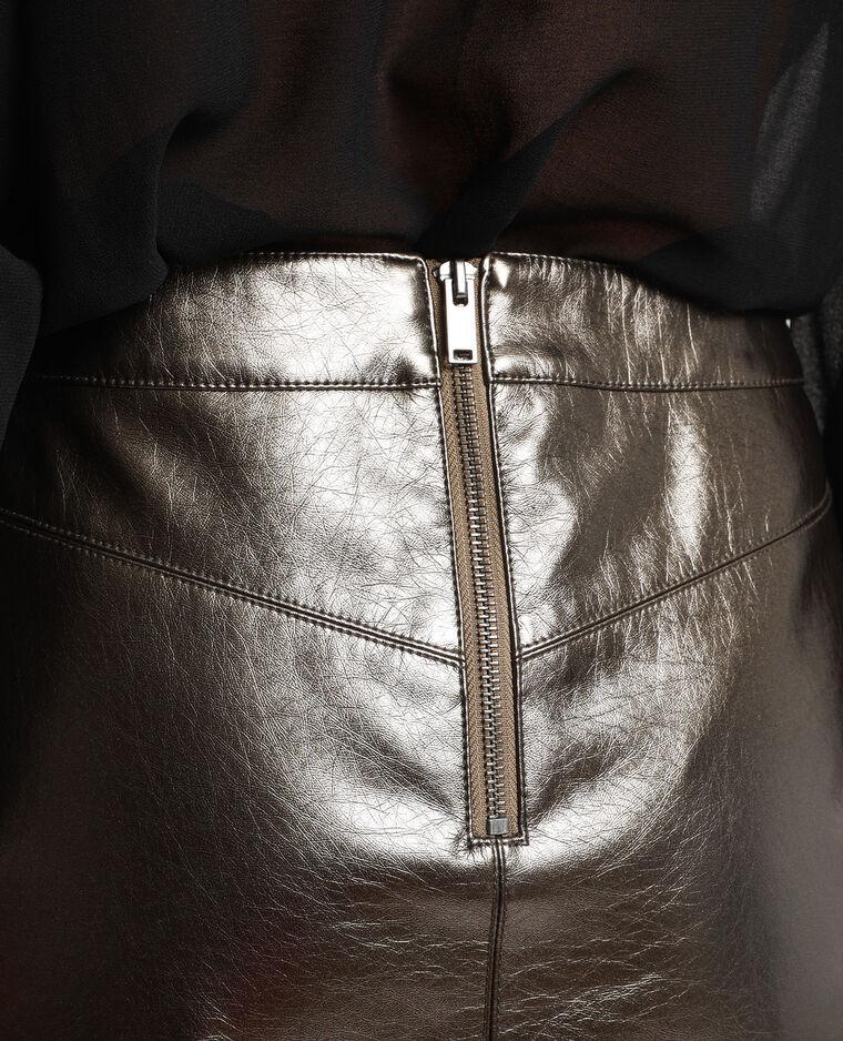 Jupe métallisée Stéphanie Durant x Pimkie gris argenté