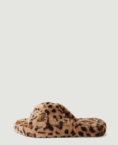 Instappers van schapenvacht met luipaardmotief beige - Pimkie