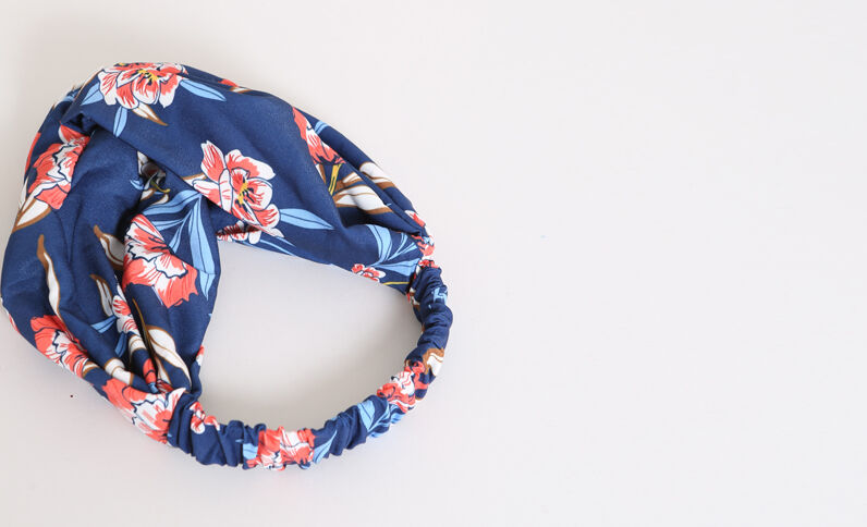 Fleurige hoofdband marineblauw