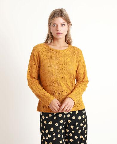 T-shirt en crochet Moutarde