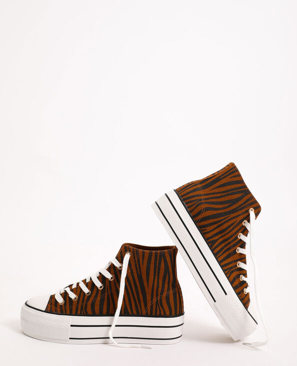 Gymschoenen met sleehak met zebraprint Beige