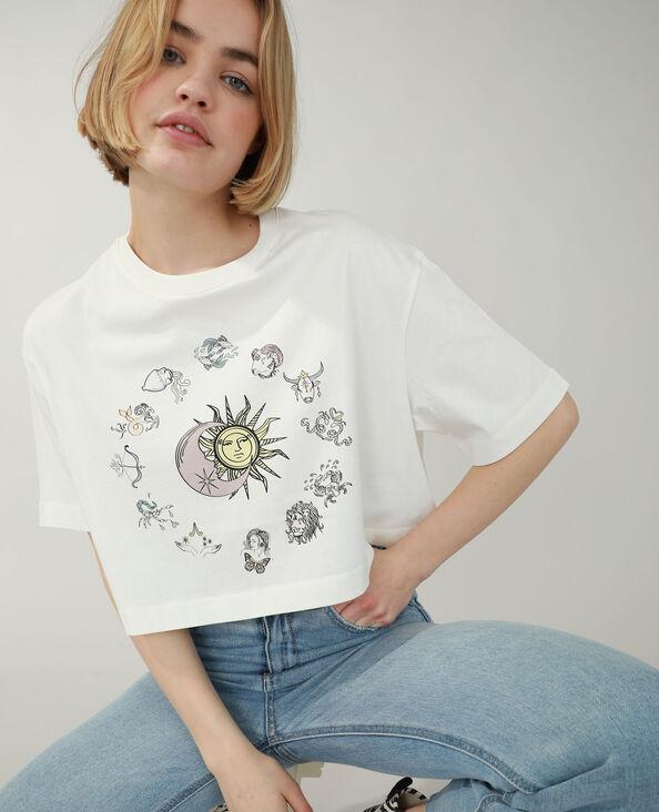 Cropped T-shirt gebroken wit - Pimkie