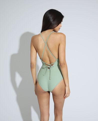 Maillot une pièce dos nu avec laçage vert clair - Pimkie