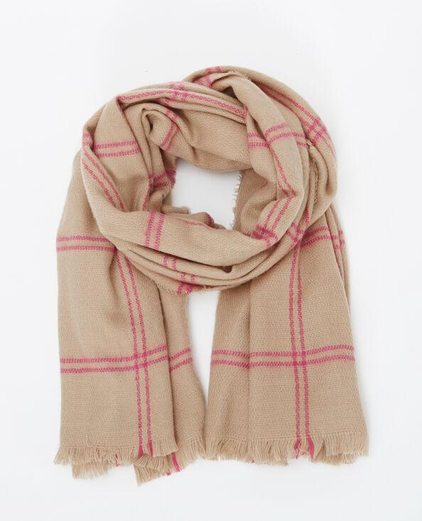Lange sjaal met ruitjes camel