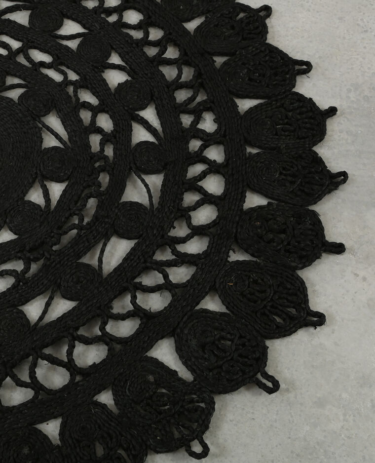 grand tapis mandala noir - Tapis Noir