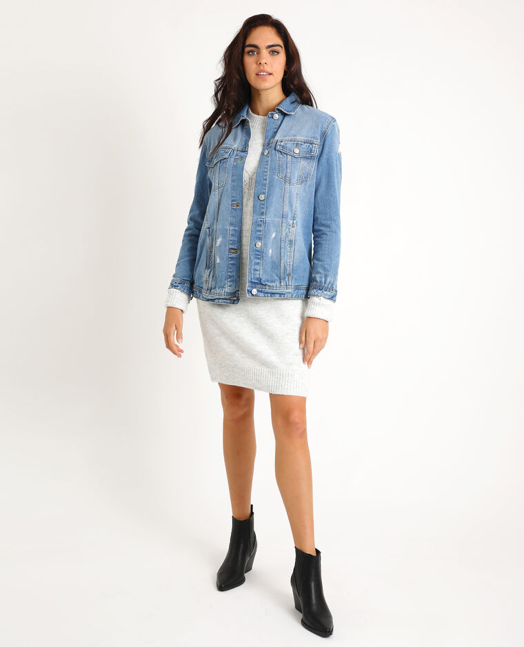 Veste en jean large bleu denim