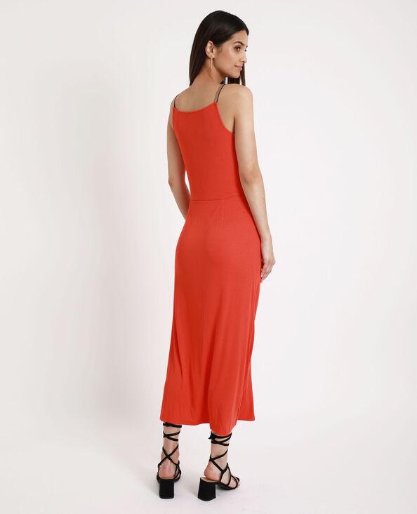 Lange jurk van ribstof rood