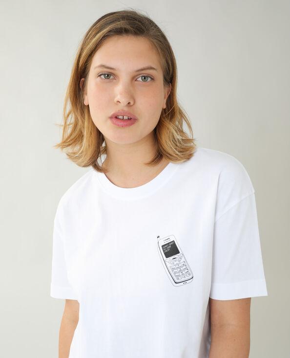 Ruimvallend T-shirt met telefoonprint wit - Pimkie