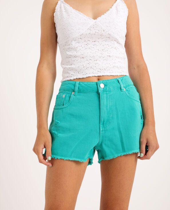 Jeansshort met destroyed look watergroen