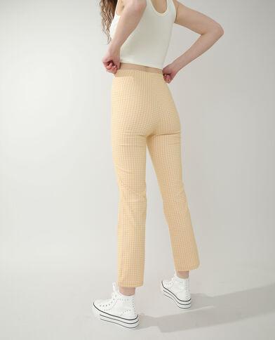 Flare broek met vichyprint geel - Pimkie