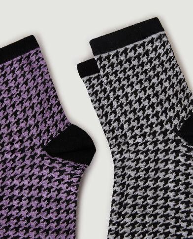 Set van 2 paar sokken met hanenpootmotief violet - Pimkie