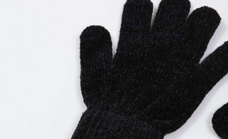 Gants en maille chenille noir