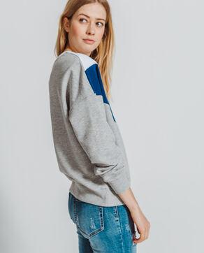 Sweater met kleurvakken gemêleerd grijs