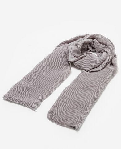 Sjaal van plisséstof lichtgrijs gemêleerd