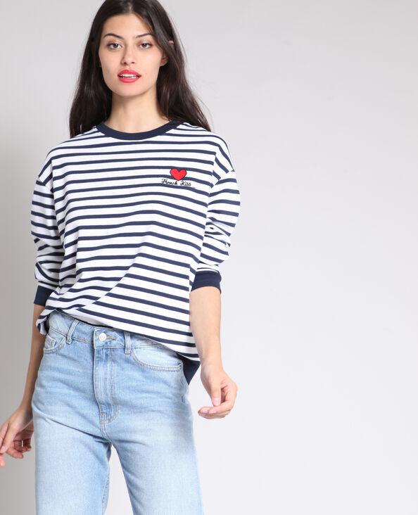 Gestreepte sweater marineblauw