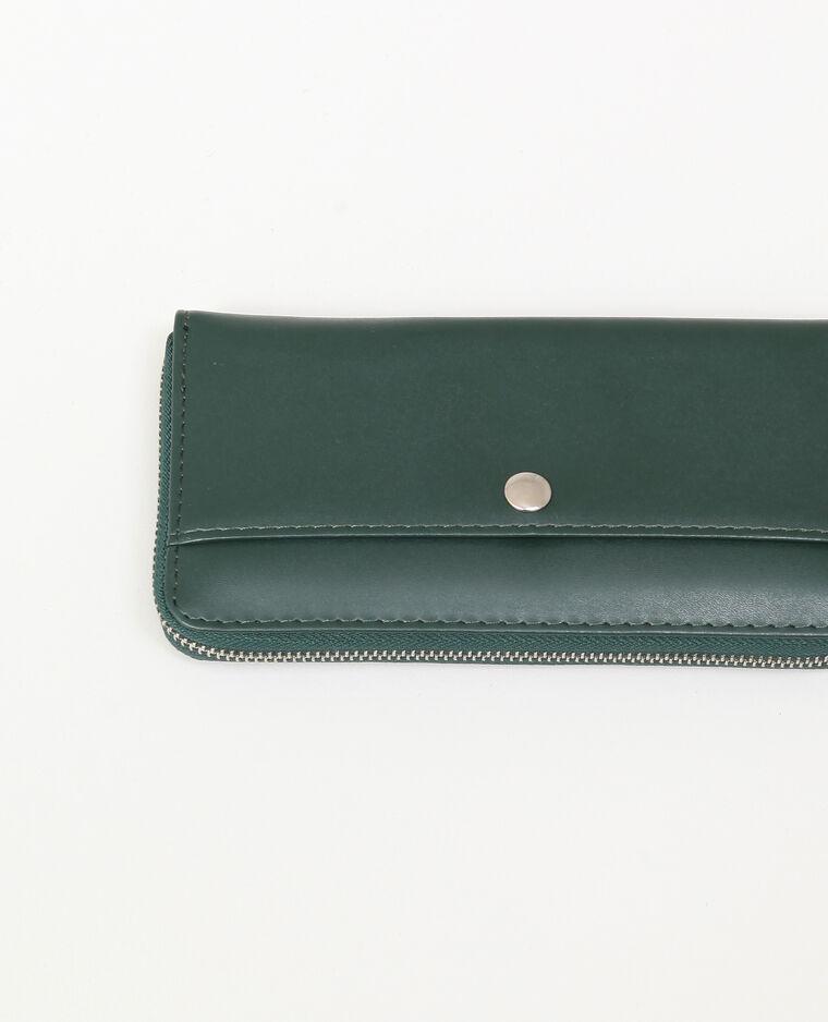 Portefeuille en simili cuir vert