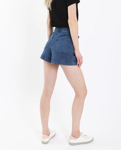 Jeansshort met hoge taille donkerblauw