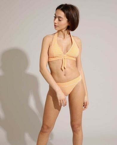 Bas de maillot culotte à carreaux texturé orange