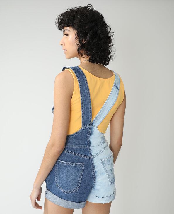 Tweekleurige jeanstuinbroek denimblauw - Pimkie