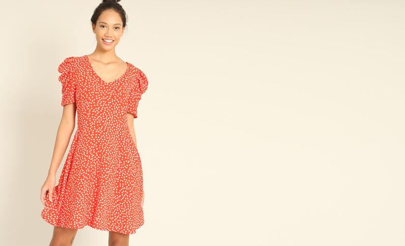 Soepelvallende jurk met print rood