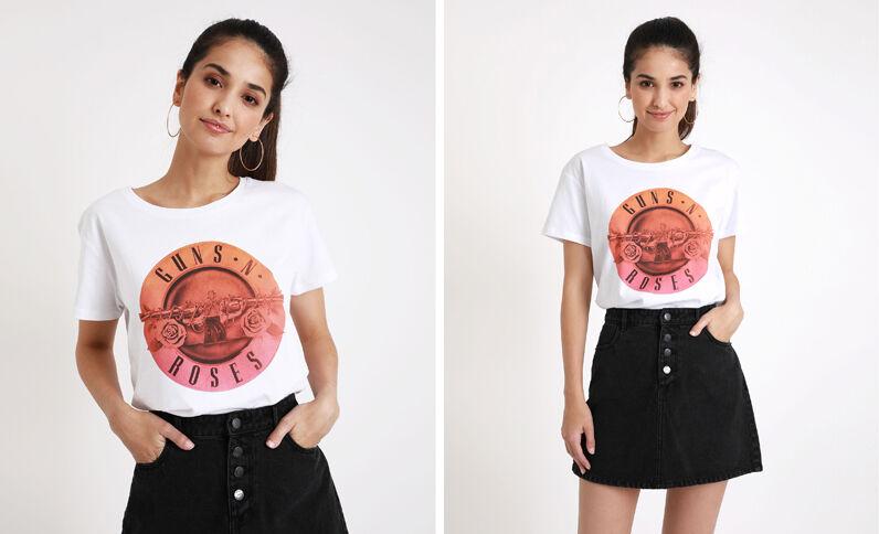 T-shirt Guns N'Roses blanc
