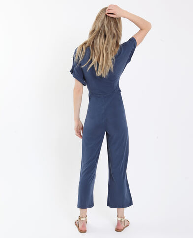 Combi-pantalon fluide bleu foncé