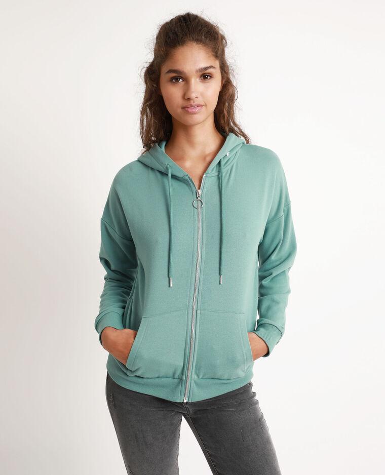 Sweat à capuche zippé bleu