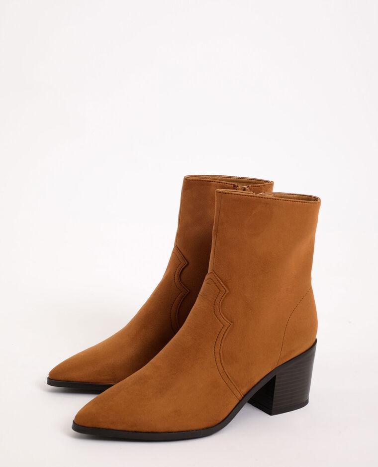 Boots western en suédine beige sable