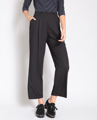 Soepelvallende broek zwart