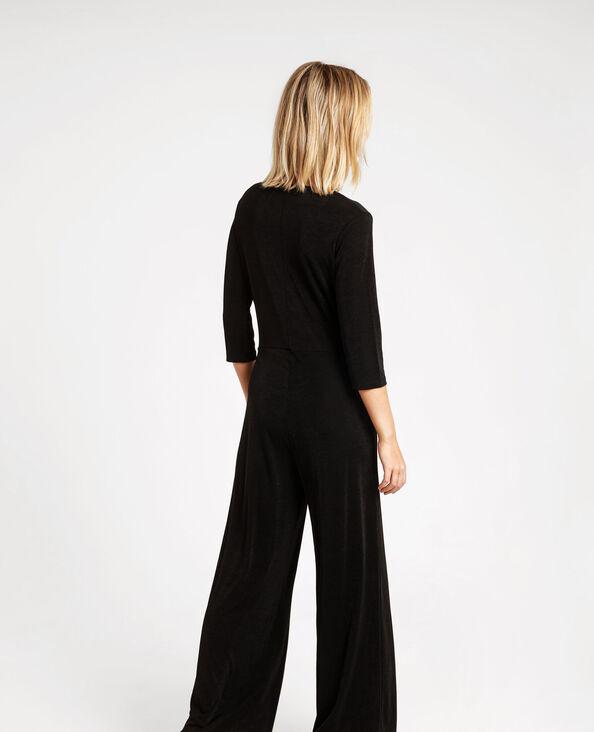 Combi-pantalon à col V noir