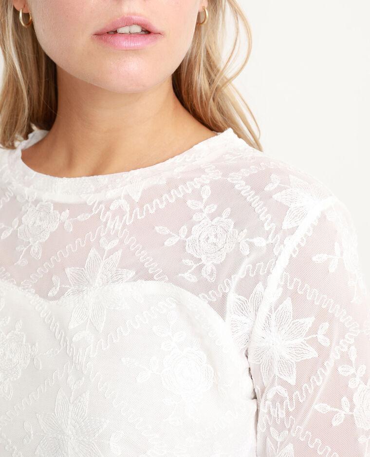 T-shirt à broderies blanc cassé