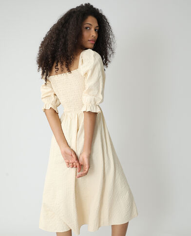 Lange jurk van wafelstof beige - Pimkie
