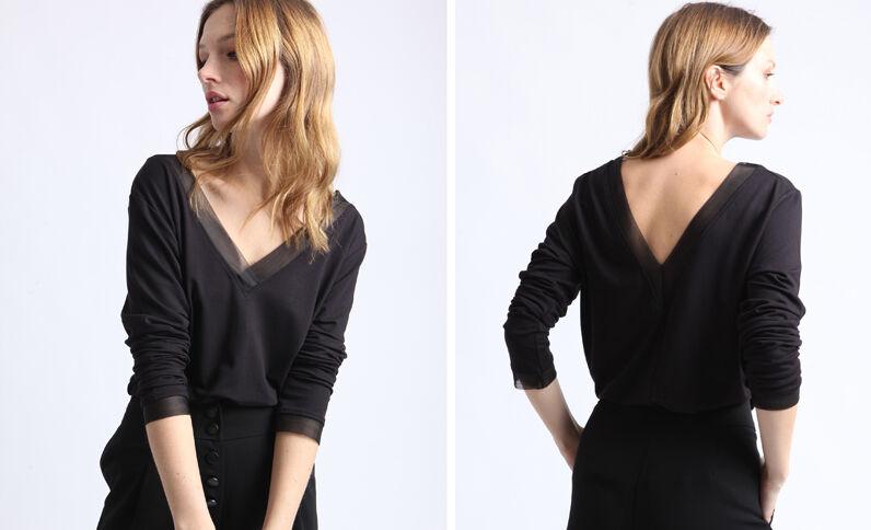 T-shirt met V-hals zwart