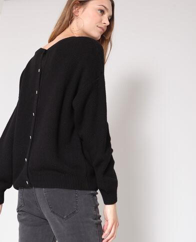 Opengewerkte trui zwart
