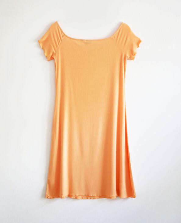 Robe côtelée à manches courtes orange