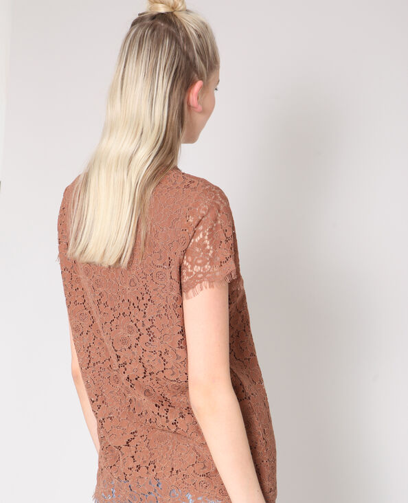 Kanten blouse zandbeige