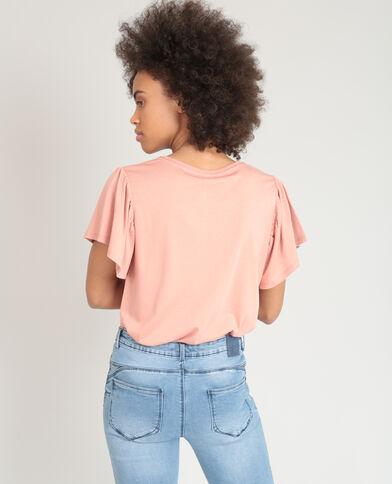 T-shirt brodé rose