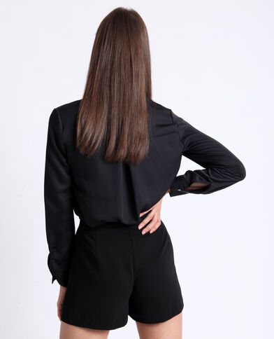 Soepelvallend hemd zwart