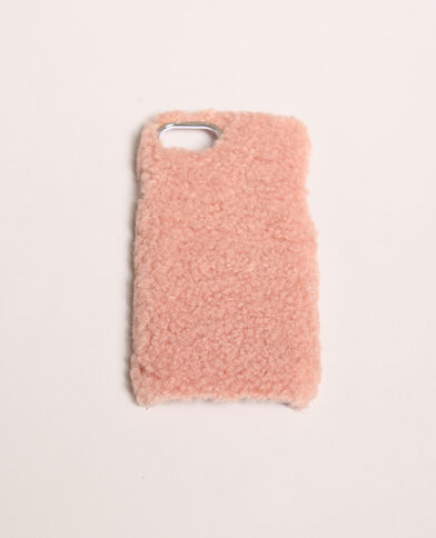 Coque iPhone fourrure rose