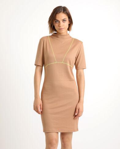 Tweekleurige jurk karamel