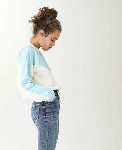 Sweater uit twee stofsoorten blauw - Pimkie