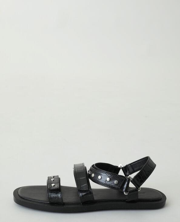 Sandales effet croco cloutées noir - Pimkie
