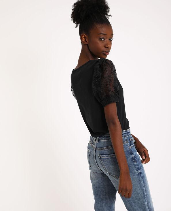 Shirt met ballonmouwen zwart