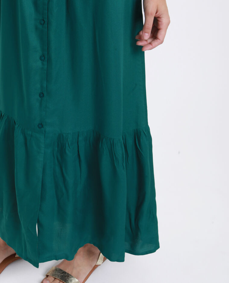 Lange jurk met knopen groen
