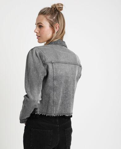 Kort jeansjasje donkergrijs